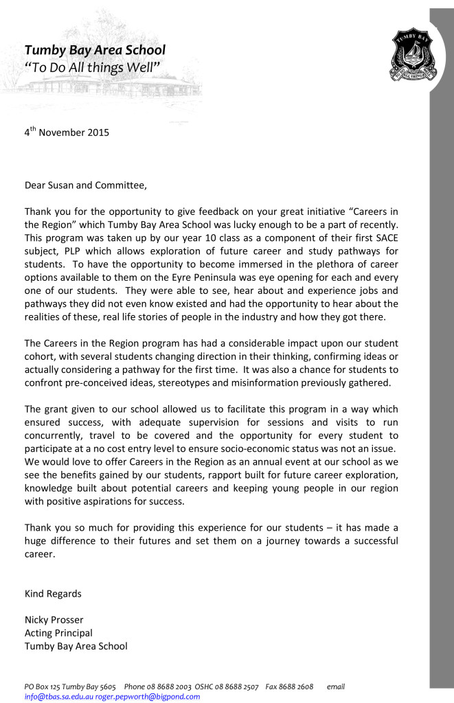 Careers in the Region letter